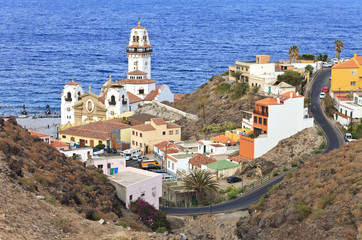 Aerial view of Candelaria with its basilica, Tenerife