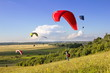Multiple paragliders soar in the air amid wondrous landscape - 44290072