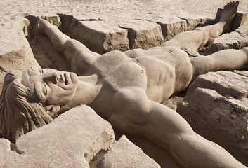 Adam sand sculpture at Las Palmas beach