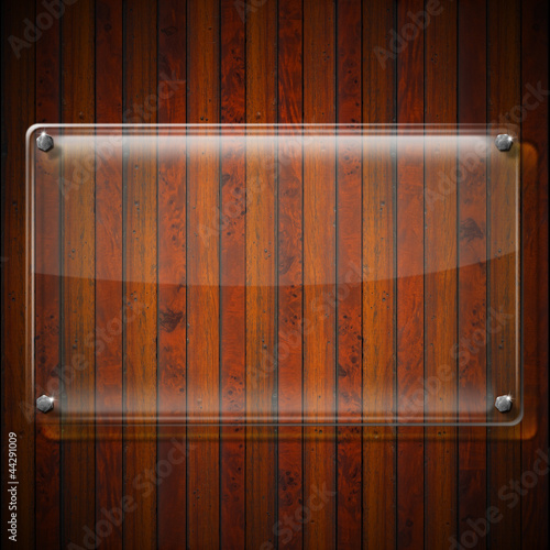 Glass Plate on Wood Background
