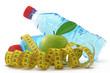 wasserflaschen mit apfel