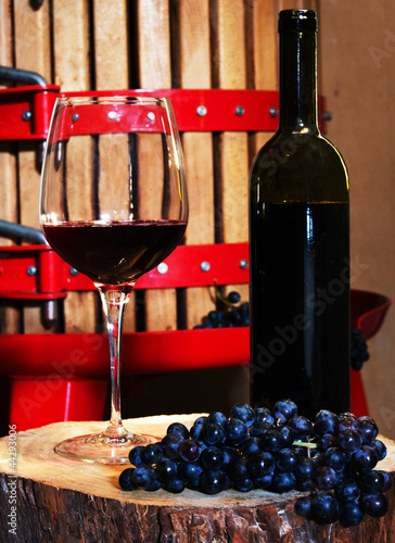Glass of red wine and vintage wine press