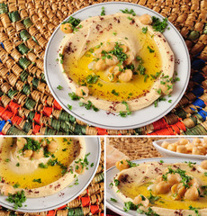 Hummus sequence. Vegetarian food.