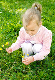 Little girl gathering flowers in the park poster