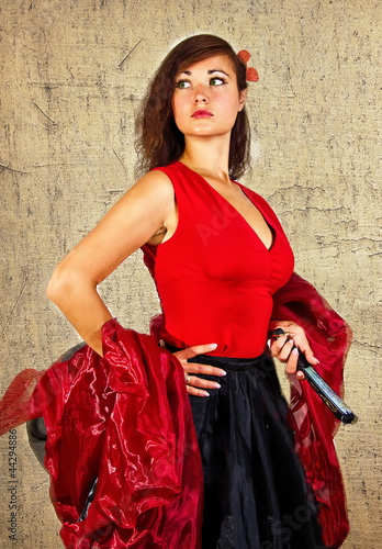 Portrait of attractive flamenco dancer