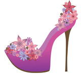 Shoes decorated with flowers. Vector