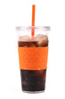 cup of cola with ice and straw
