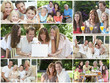 Happy Families Having Fun Inside, Outside & Eating