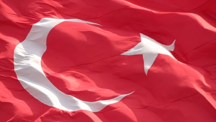 Waving Turkish flag. Full-screen 1080 HD video