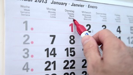 Termindruck und Markierung im Kalender