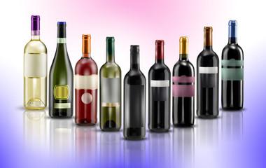 mix bottiglie di vino rosso e bianco sfondo colorato