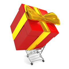 CarryingBigGiftBoxByShoppingCartTopView
