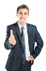 happy smiling businessman giving hand for hands