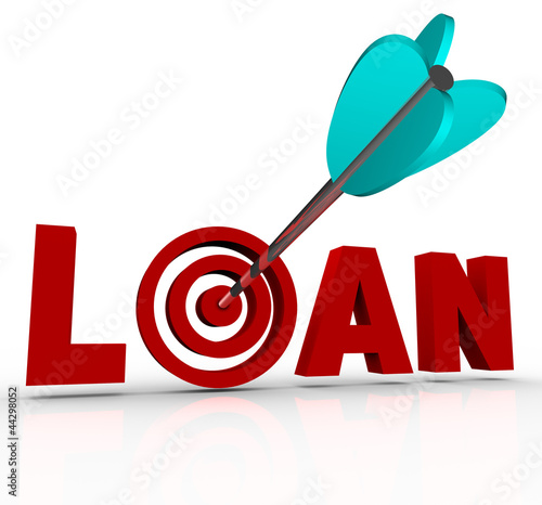 Loan Word Arrow in Bulls-Eye Target Financing Mortgage