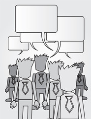 Isolated business workers in various grays.