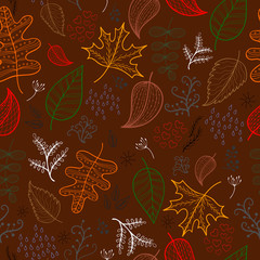 Autumn leaves pattern, vector