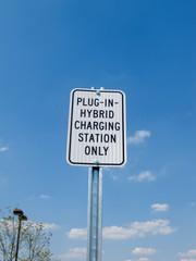 Sign for parking hybrid vehicle
