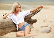 blonde girl on beach