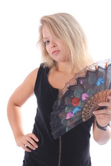 Blonde woman with colorful hand-held fan