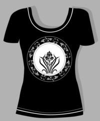 t-shirt design  with  vintage floral element