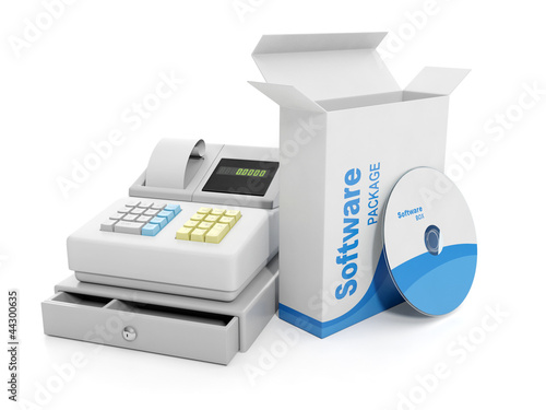 3d illustration: Purchase sale. Cash register and licensed softw