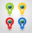 Light bulb earth icons