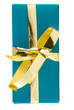 blaues Geschenk mit goldener Schleife