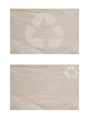Recycle icon on paper textured and background