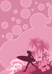 woman surf background