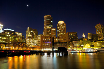 Nighttime view of Boston Harbor, Massachusetts, USA