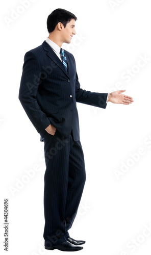 Business man giving hand for handshake, isolated