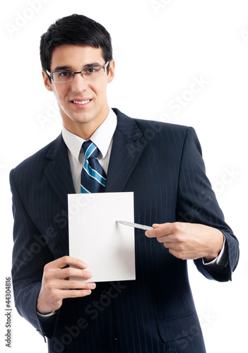 Businessman with signboard, isolated