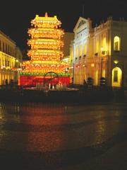 Senado Square at night, Historic Center of Macau, China