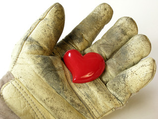 Heart in working glove