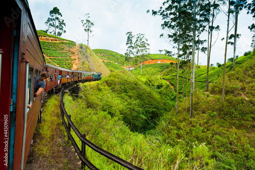 Riding by train in Sri Lanka
