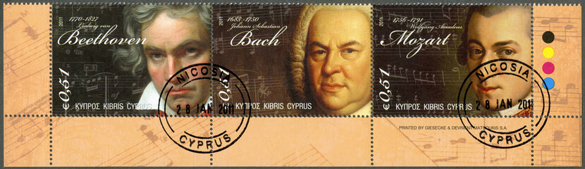 CYPRUS - 2011 : shows Beethoven, Bach and Mozart