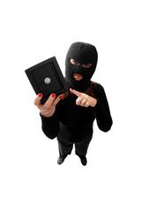 Thief holding a safe