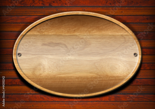 Oval Wood Board on Wall