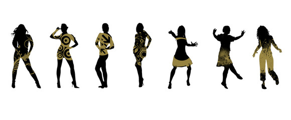 Silhouettes of people who dance.