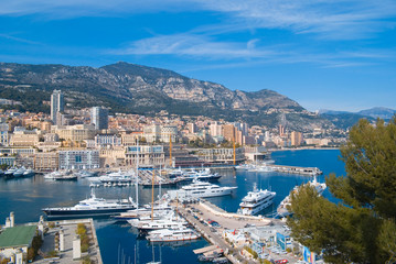 View of the harbor of Monaco in French Riviera.