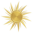 Golden sun symbol isolated on white