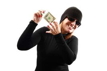 Thief holding money