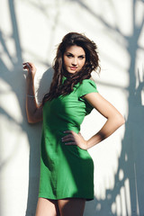 beautiful girl with a green dress sitting on the fence