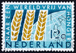 Postage stamp Netherlands 1963 Wheat Emblem and Globe