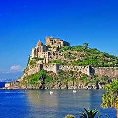 view of medieval Aragonese castle. Ischia island