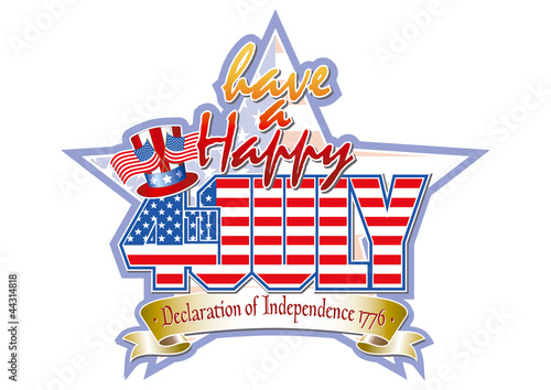 Happy 4th July star and Uncle Sams top hat vector