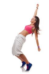 modern style dancer posing on tiptoes