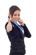 Young business woman with thumbs up sign and speaking at phone