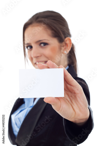 young business woman holding a blank card