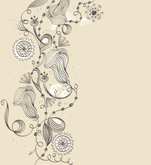 Abstract background with  hand-drawn fantasy flowers .